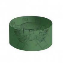 Housse salon de jardin PVC ronde diamètre 184 cm - hauteur 120 cm avec  gillets - couleur verte - haute résistance