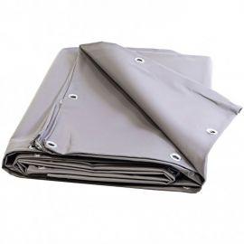 Bâche 4 x 3 m grise PVC 680g Lourde Oeillets tous les 25cm Haute protection Qualité prémium